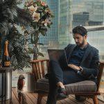 A business man on a deck.
